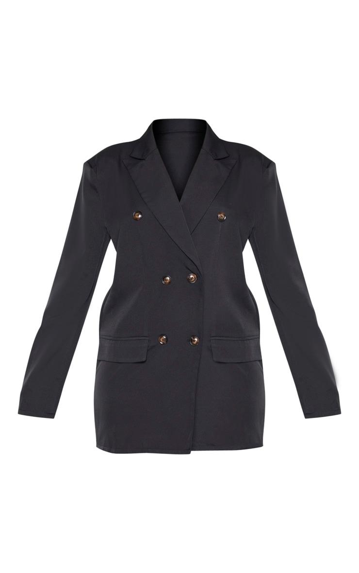 Black Woven Oversized Longline Button Detail Blazer 3