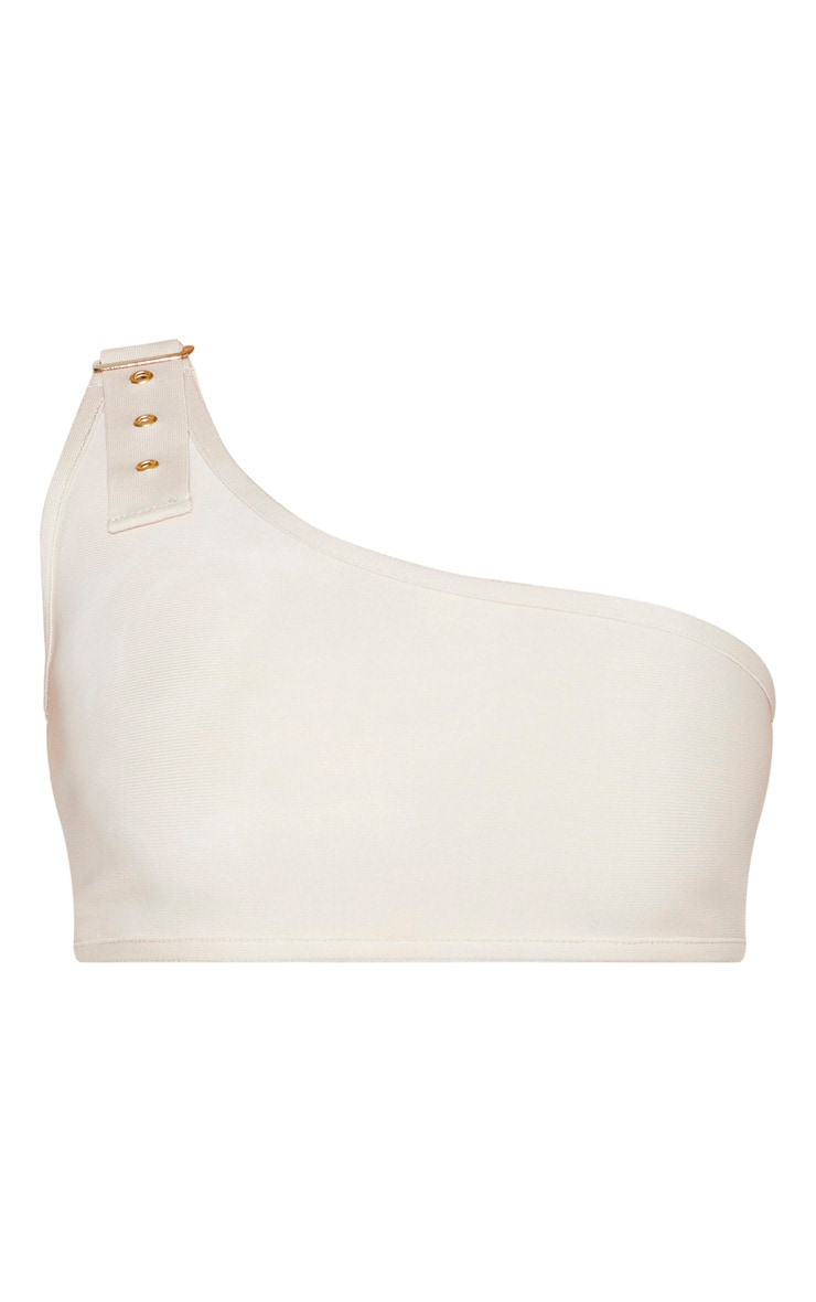Nude One Shoulder Bandage Buckle Bikini Top 3