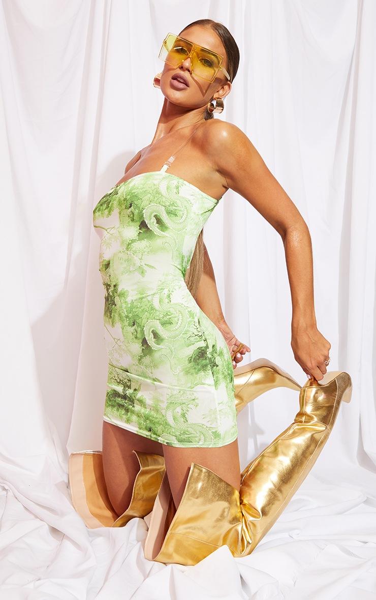 Lime Print Slinky Clear Strap Bodycon Dress 3