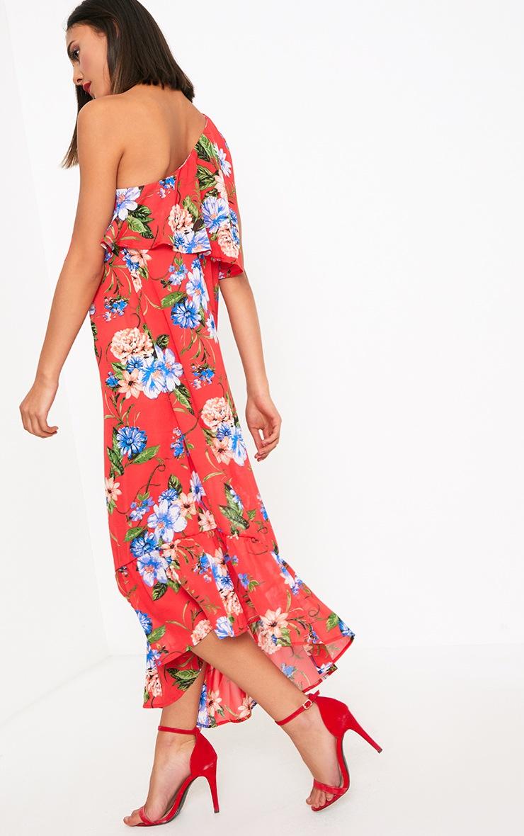 Red Floral One Shoulder Frill Hem Midi Dress 2