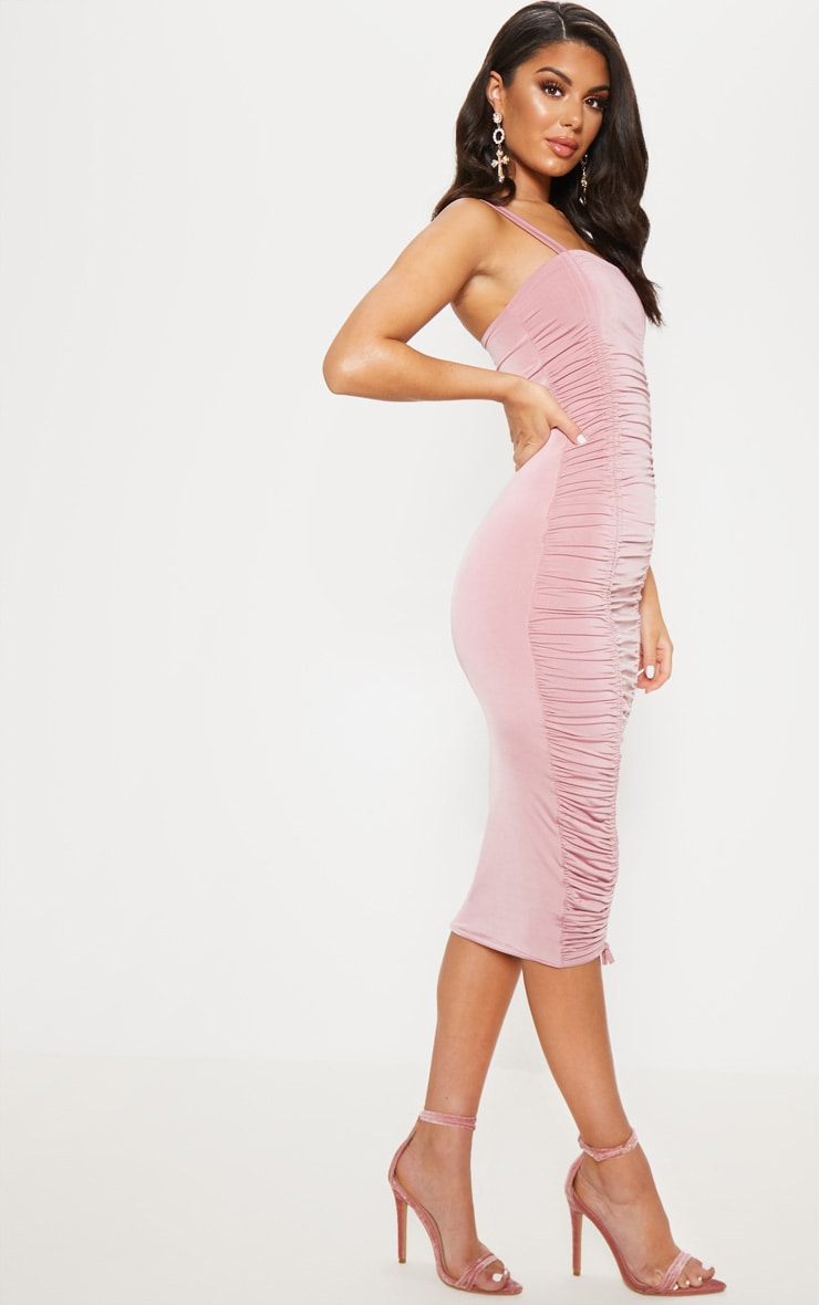 Rose Slinky Ruched Midaxi Dress 4