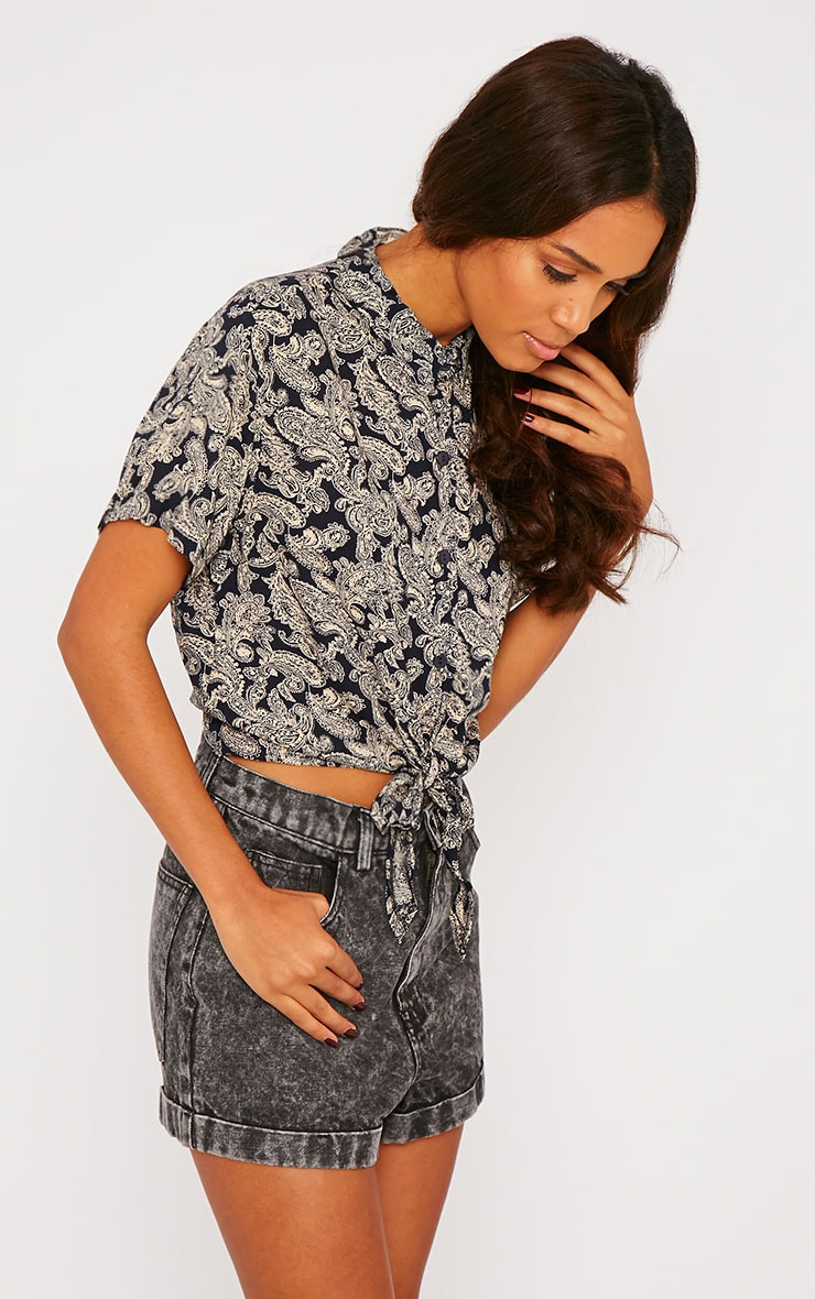 Arizona Black Paisley Tie Front Crop Shirt 4