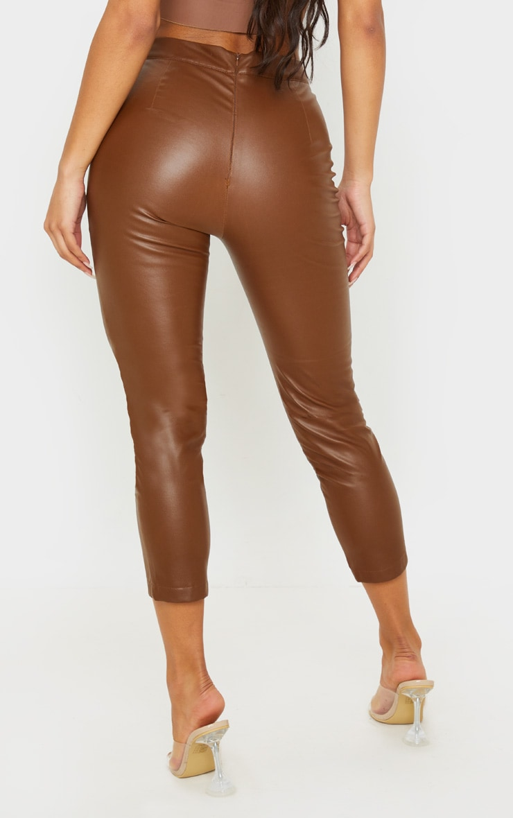 Chocolate Daysha Cropped Faux Leather Trousers 4