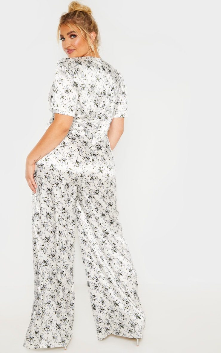 Plus White Floral Print Woven Wrap Wide Leg Jumpsuit  2