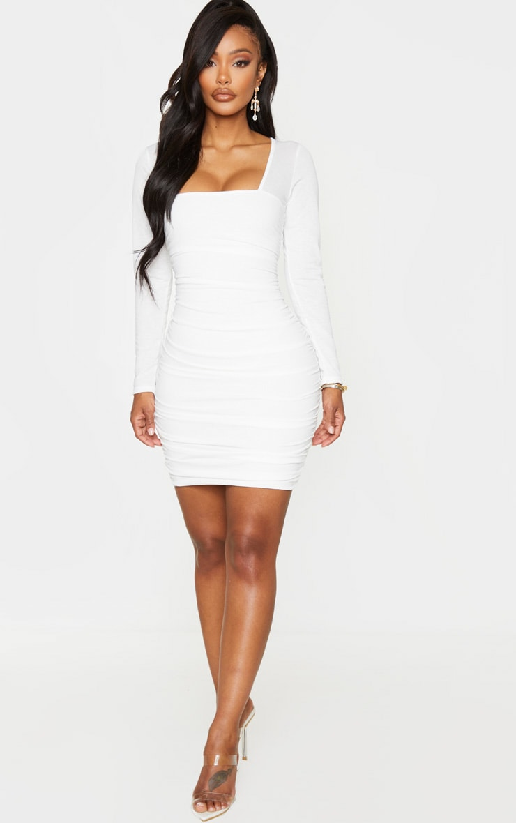 Shape White Ruched Square Neck Bodycon Dress 4