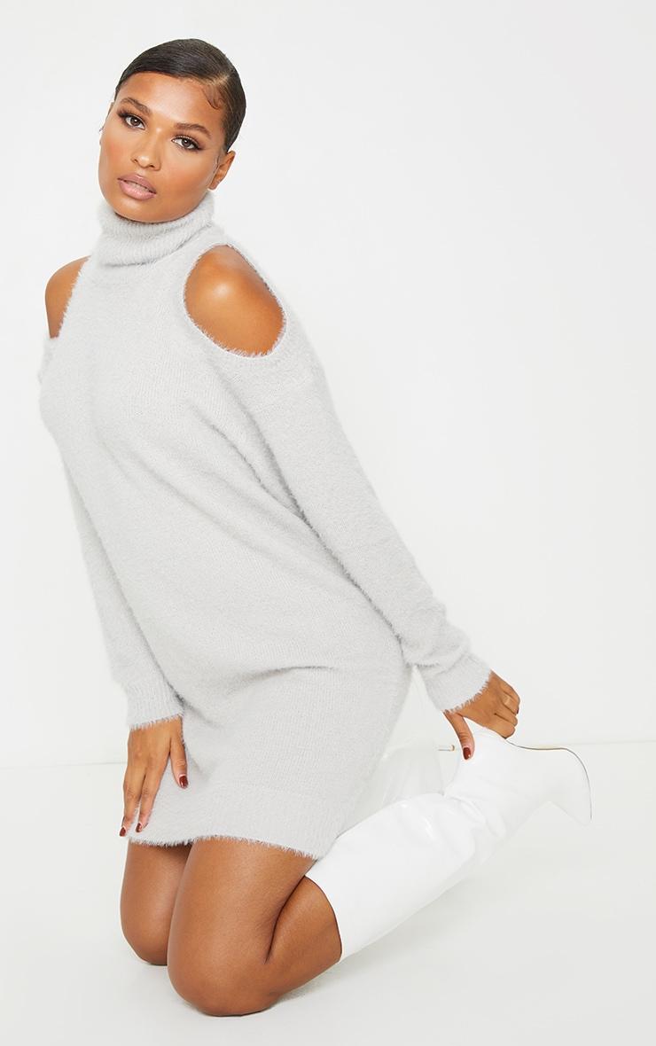 Grey Eyelash Knit Roll Neck Cut Out Jumper Dress 3