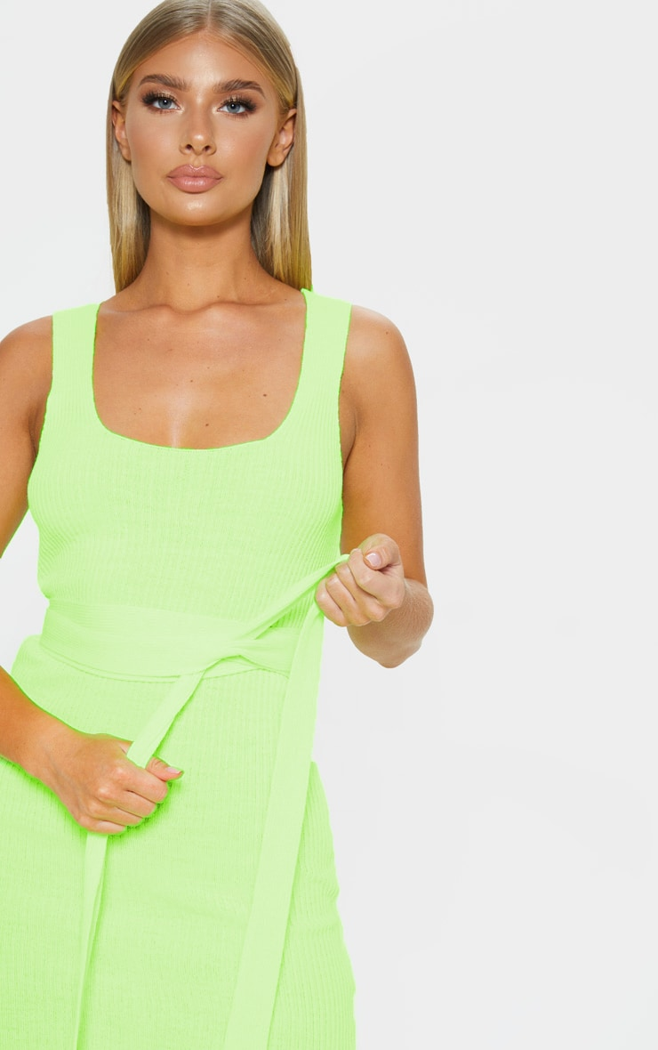 Neon Lime Knitted Tie Detail Bodycon Dress 5