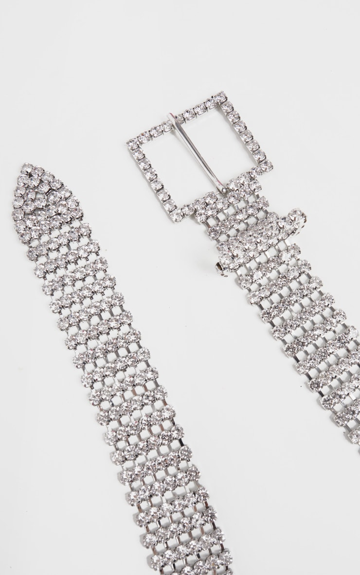 Silver Diamante Extra Chunky Buckle Belt 2