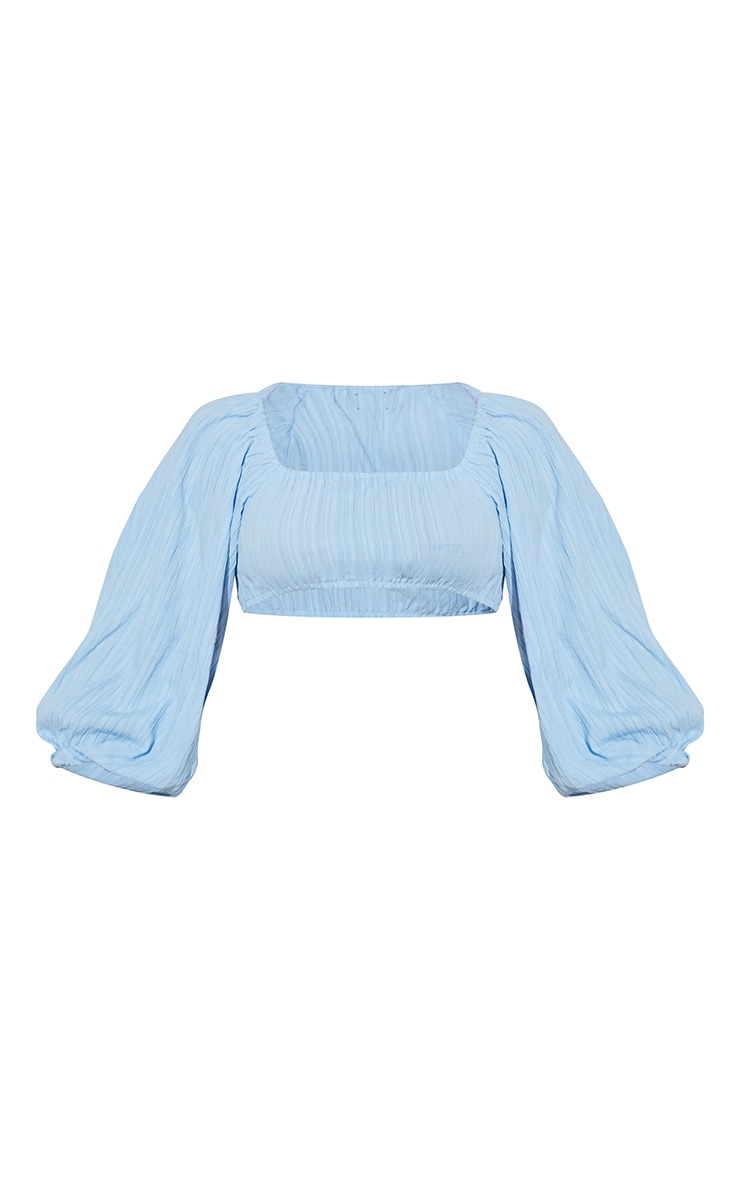 Baby Blue Linen Look Pleated Oversized Off Shoulder Crop Top 5