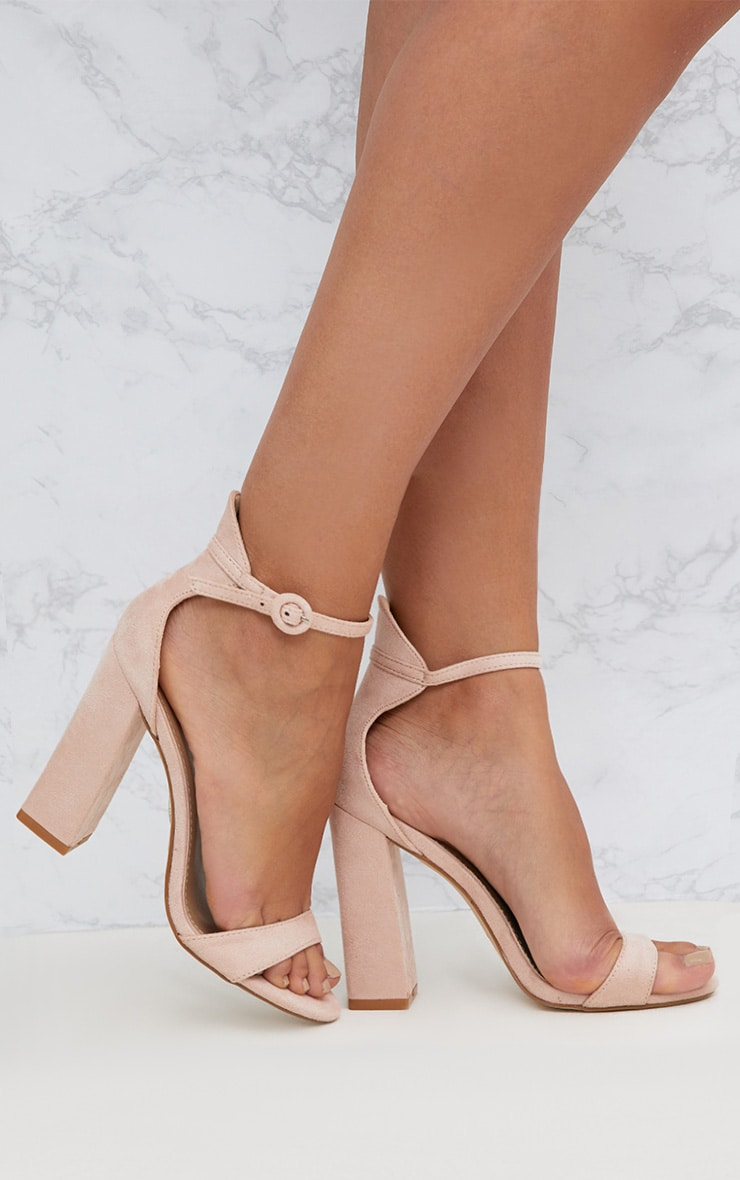 Nude Faux Suede Block High Heeled Sandals 1
