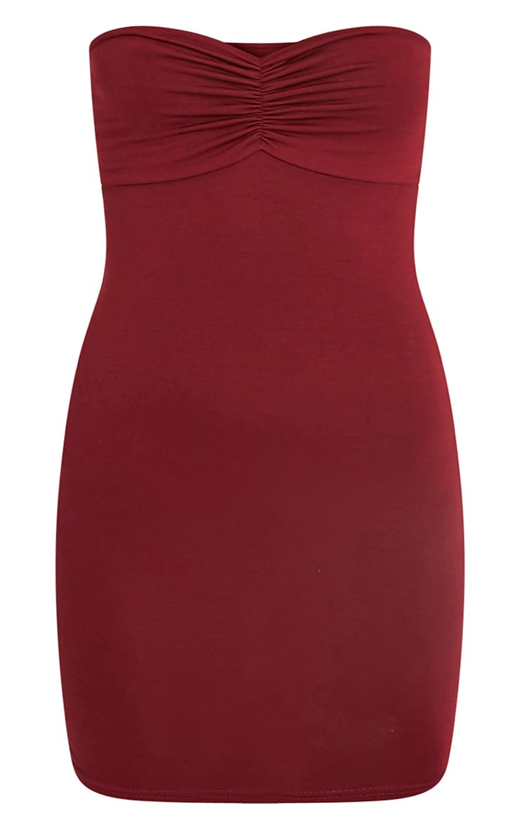 Leanna Burgundy Jersey Bandeau Bodycon Dress 3