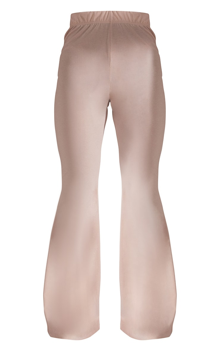 RECYCLED Beige Jersey Raw Edge Flare Pants 5