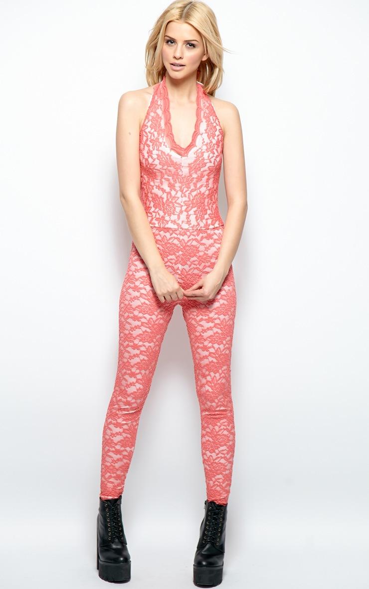 Kaylee Pink Lace Halterneck Jumpsuit 1