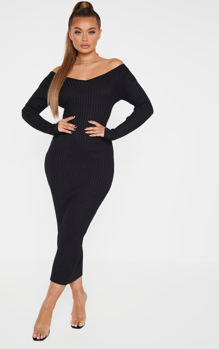 Black Off Shoulder Rib Knitted Midaxi Dress 1