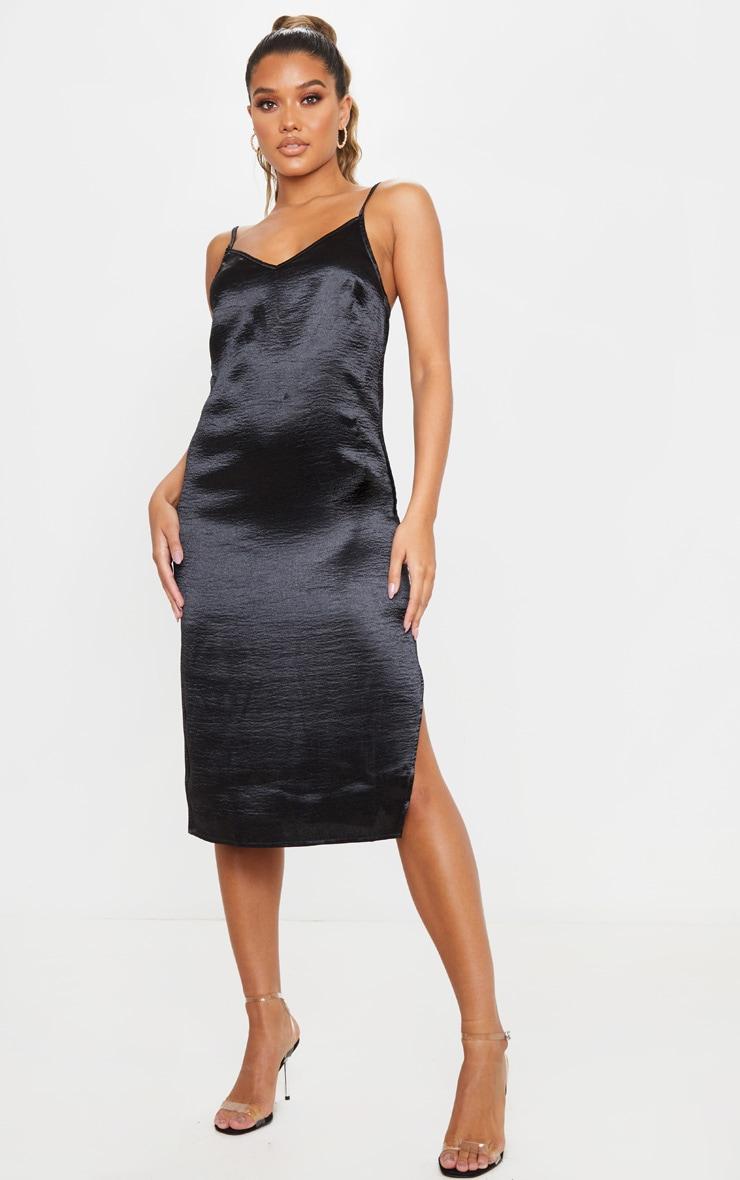 Black Hammered Satin Slip Midaxi Dress 3