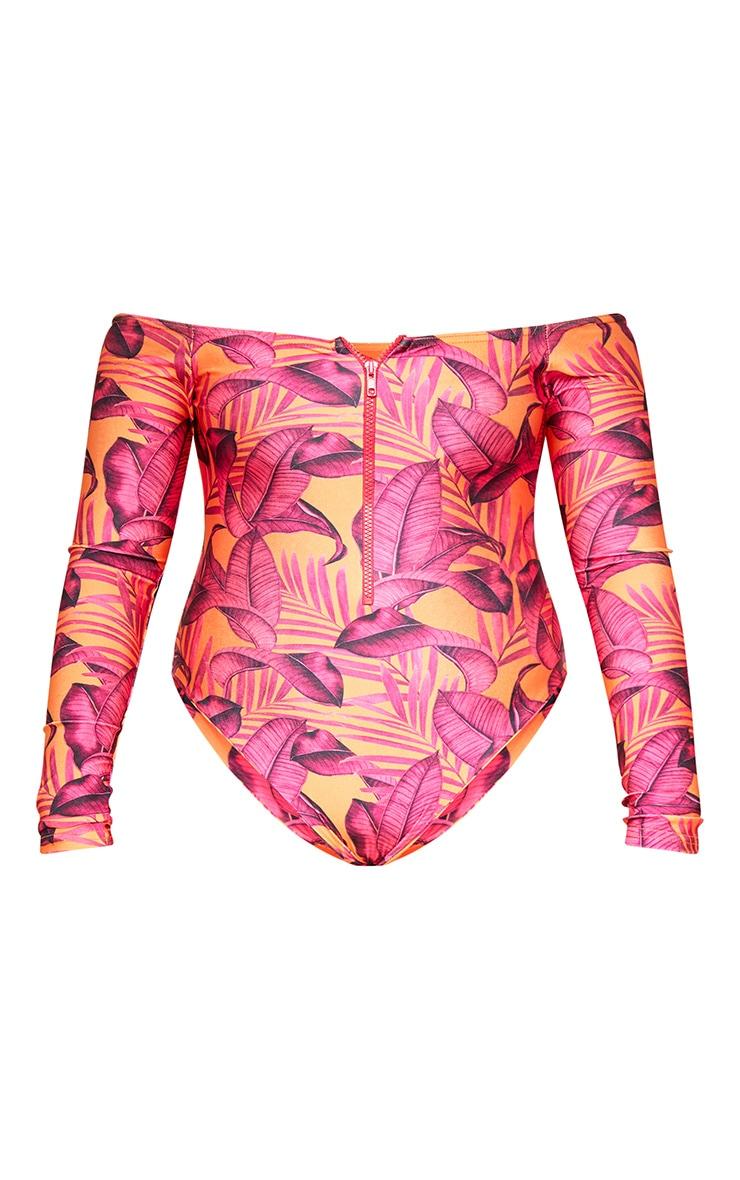 Orange Palm Leaf Long Sleeve Zip Up Swimsuit 3