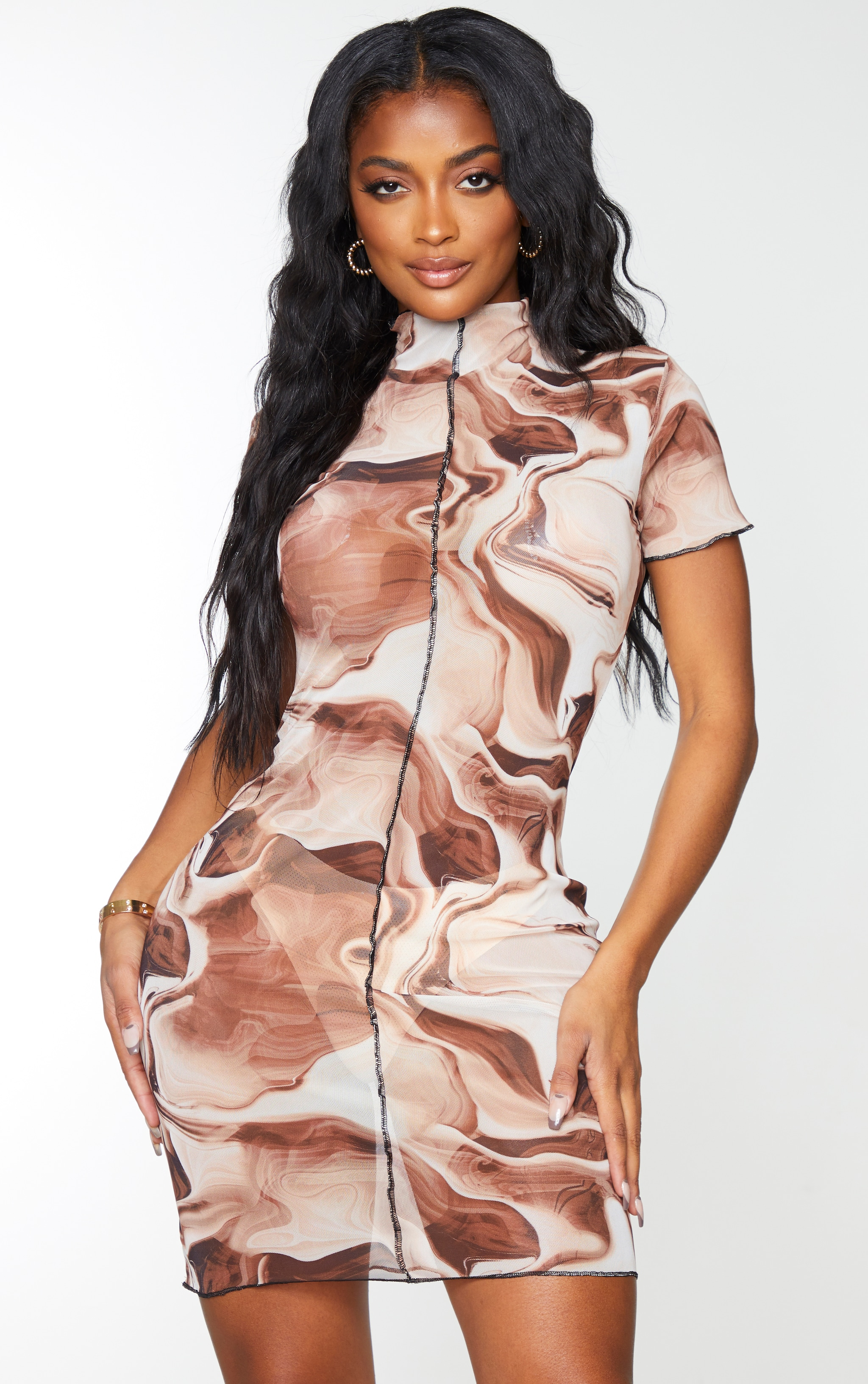 Shape Brown Tie Dye Sheer Mesh Seam Detail Bodycon Dress 2