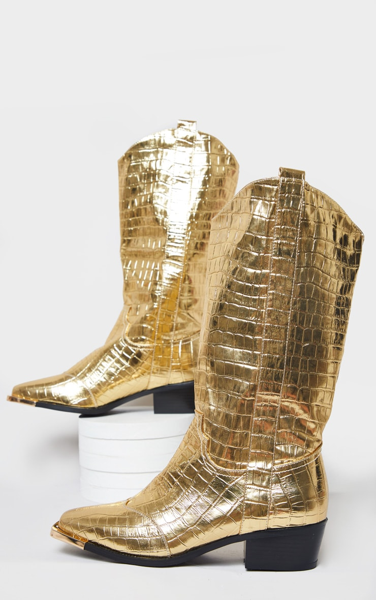 Gold Croc Square Toe Western Boots 3