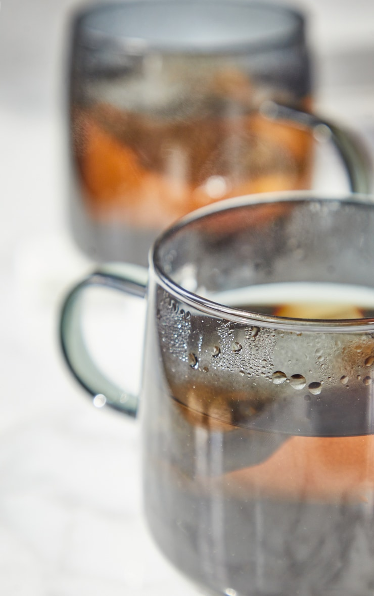 Black Glass Mugs Set Of 2 2