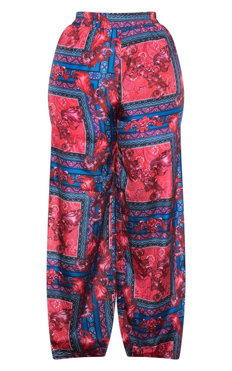 Plus Burgundy Scarf Print Wide Leg Trouser 3