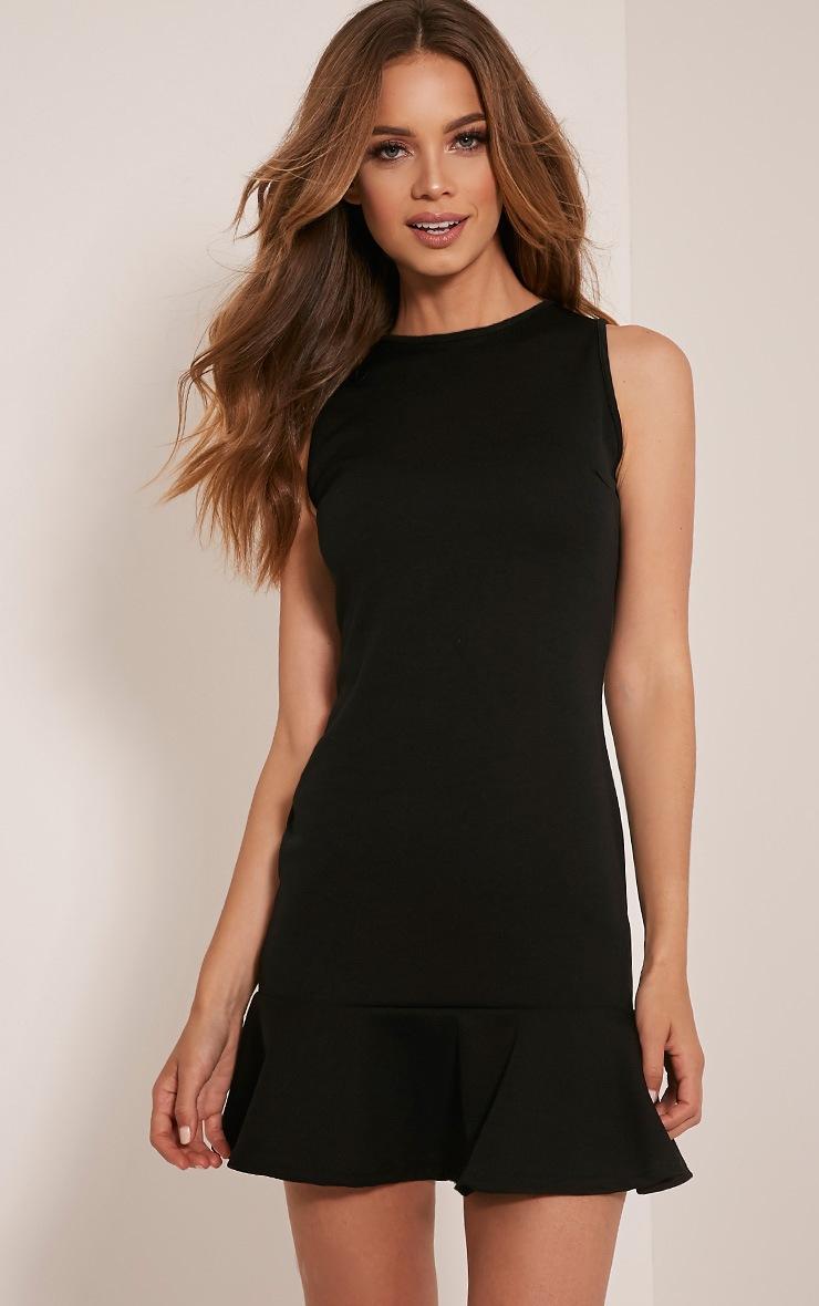 Amanie Black Drop Hem Bodycon Dress 4