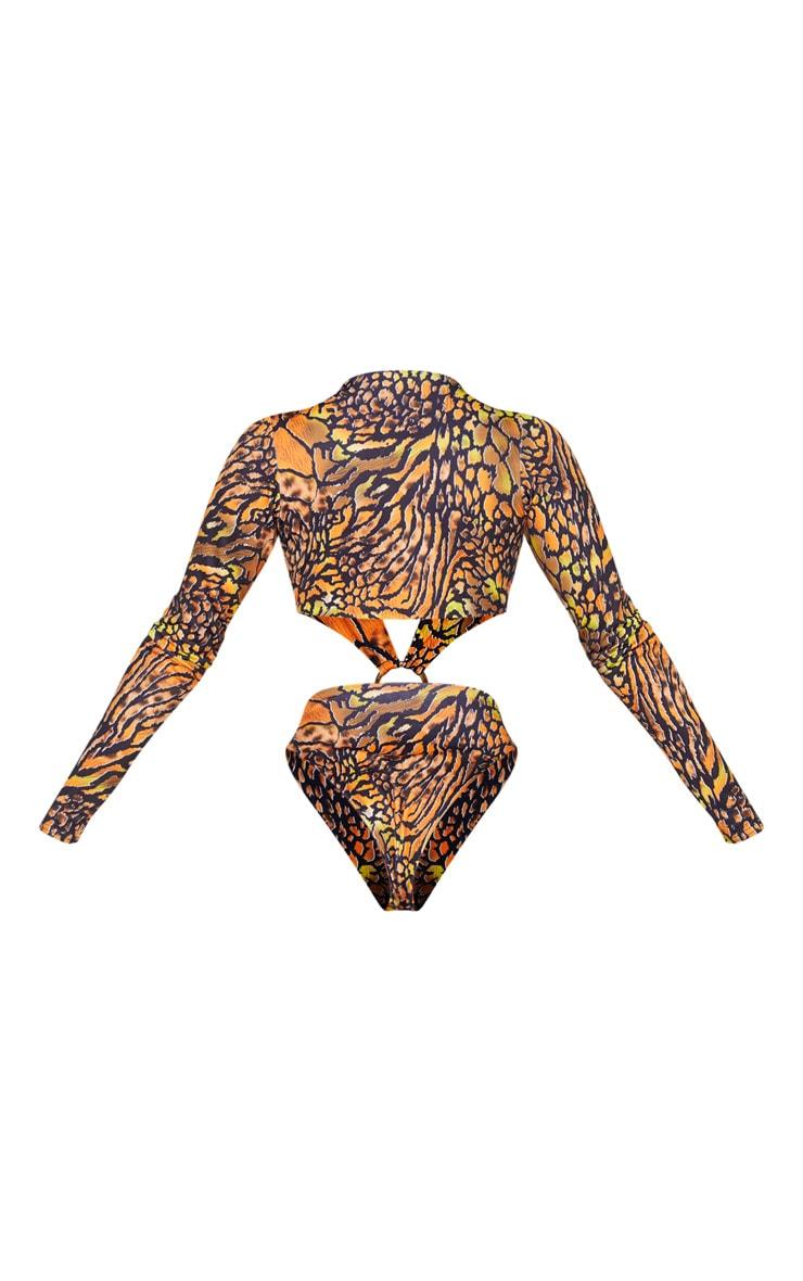 Black Reptile Long Sleeve Plunge Ring Center Swimsuit 4