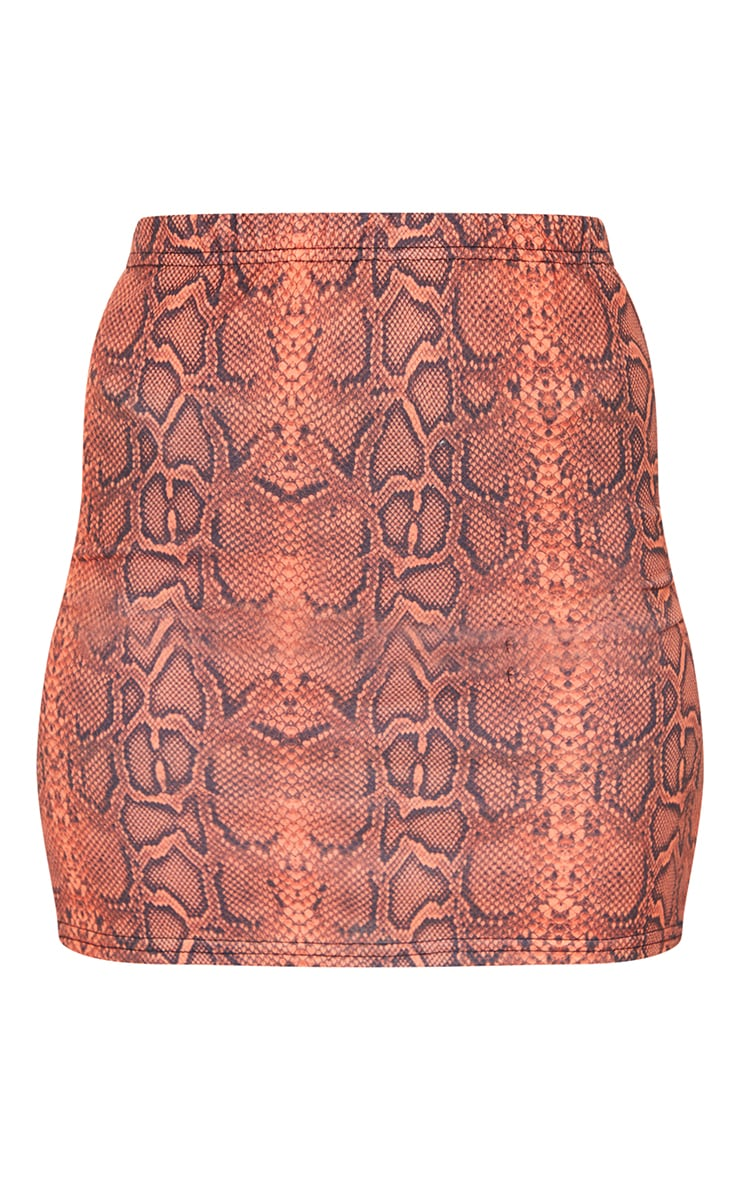 Rust Snake Printed Mini Skirt 6