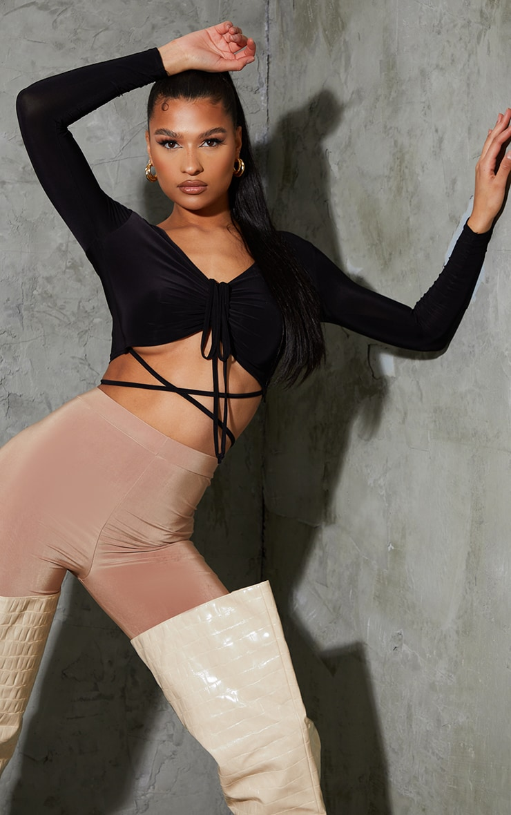 Black Slinky Multi Strap Ruched Front Long Sleeve Crop Top