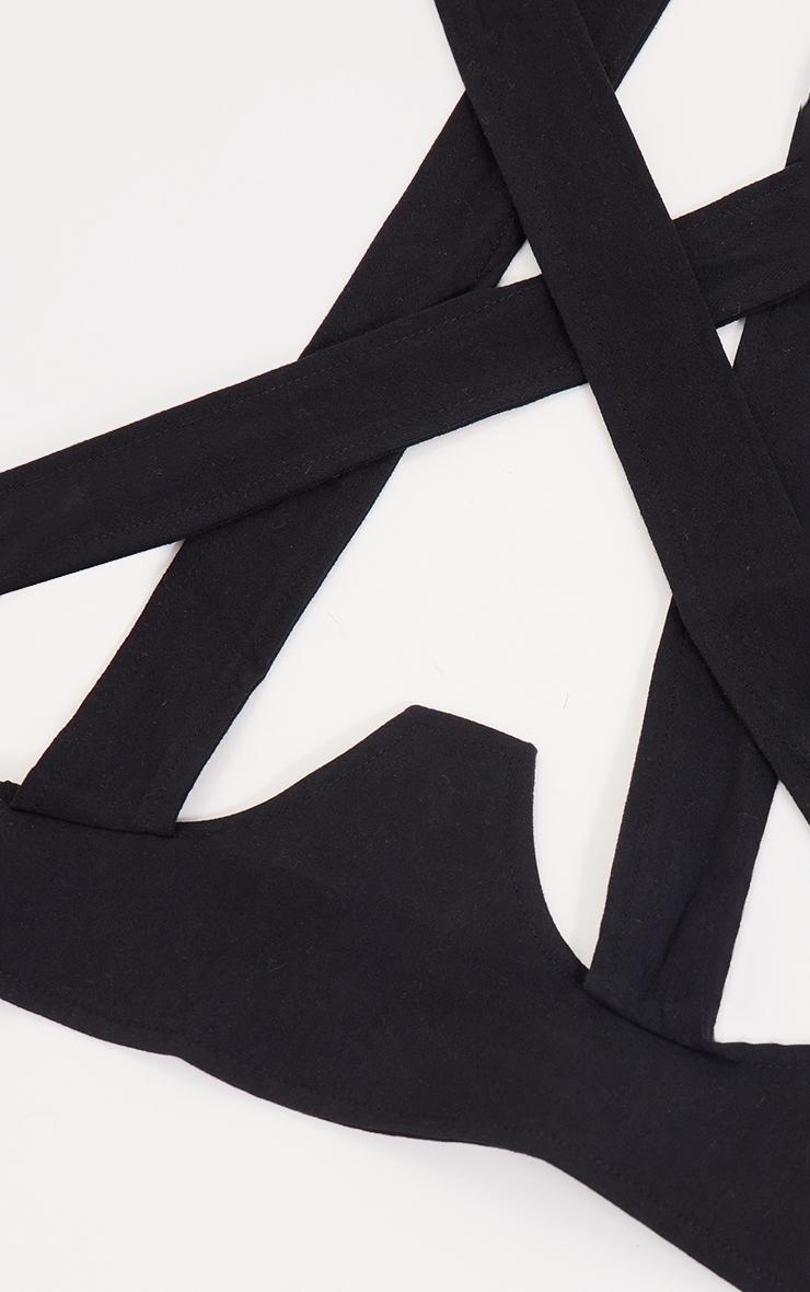 Black Linen Look Halter Neck Corset Belt 2