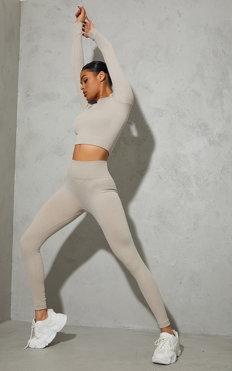 Taupe Marl Ribbed Seamless Long Sleeve Gym Top 3