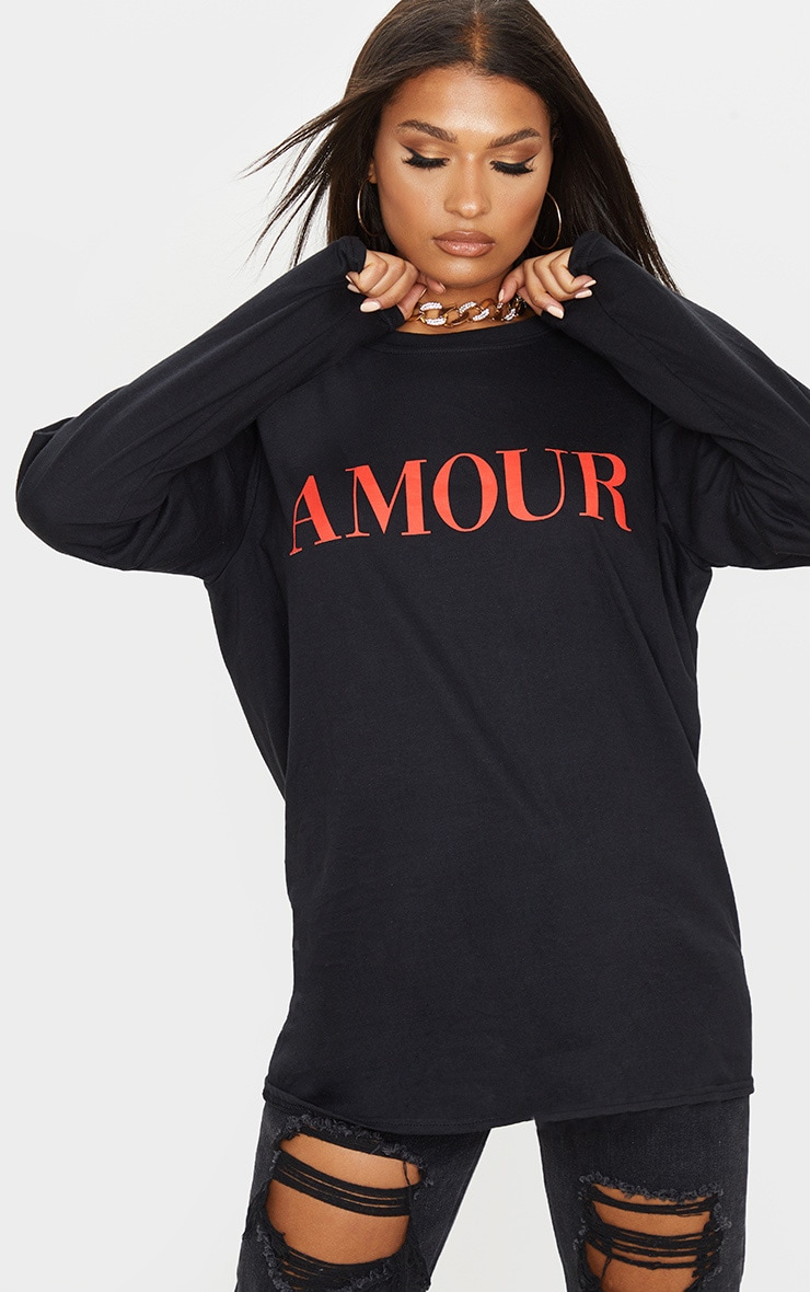 Black Amour Slogan Long Sleeve T-Shirt 5