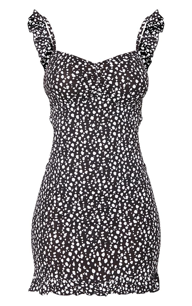 Black Dalmatian Print Frill Bow Tie Detail Bodycon Dress 5