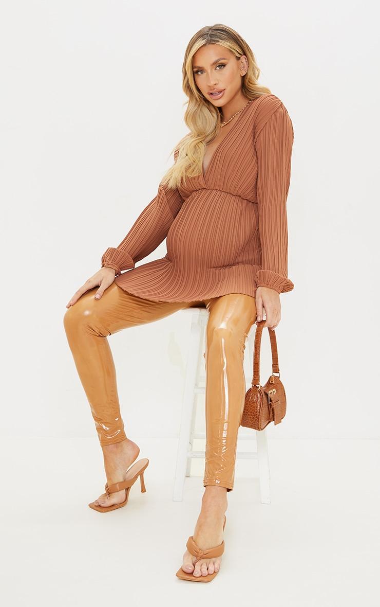 Maternity Rust Plisse Plunge Blouse 3