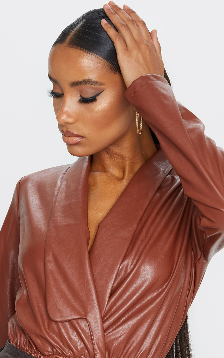 Chocolate Faux Leather Shirt Bodysuit 4