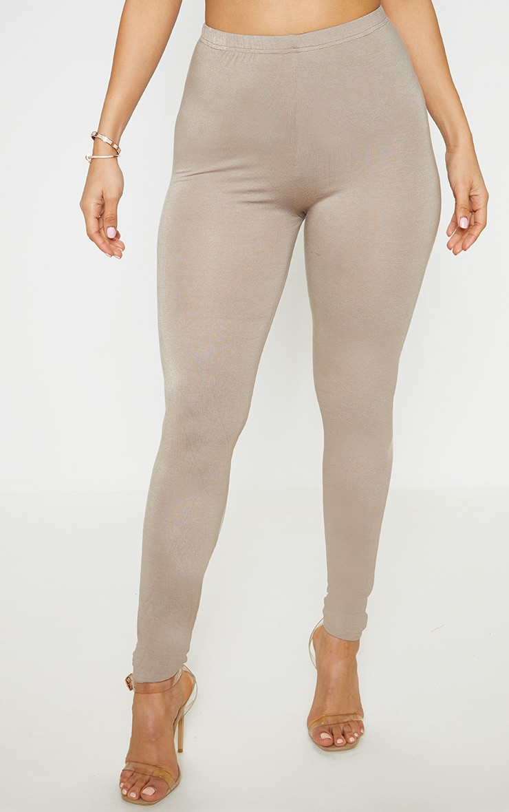 Charcoal Grey and Taupe Basic Jersey Legging 2 Pack 2