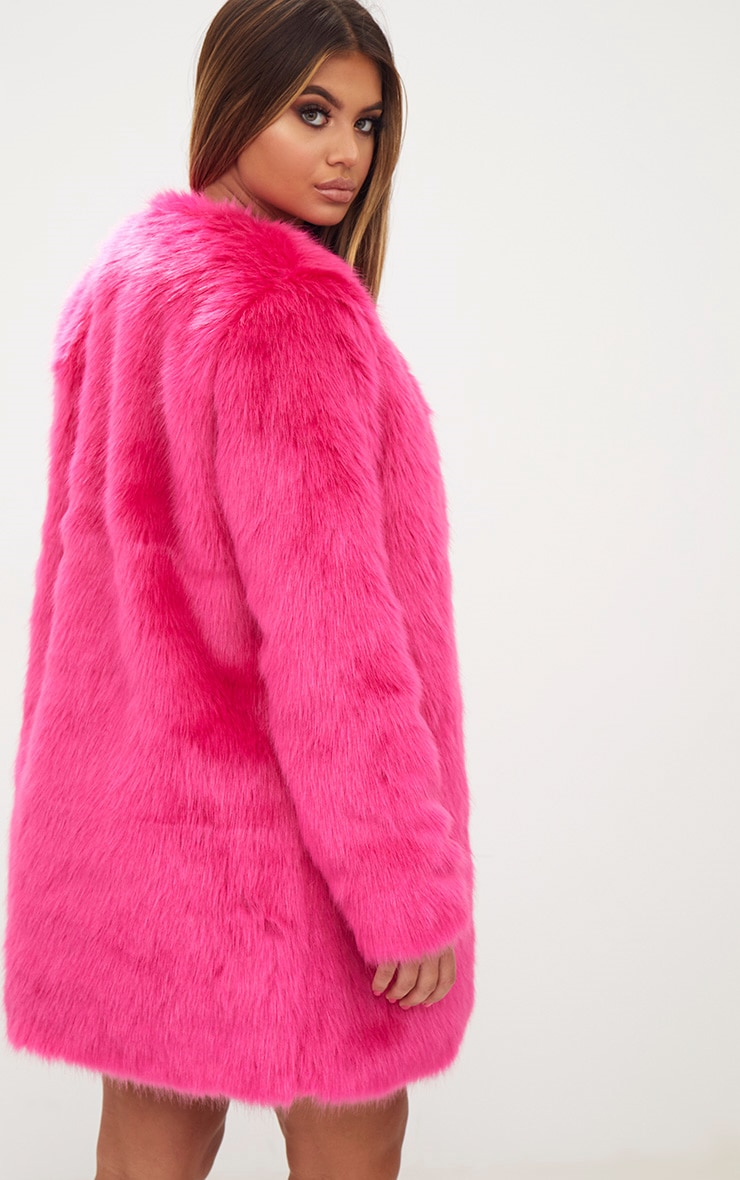 Fuchsia Faux Fur Coat 2