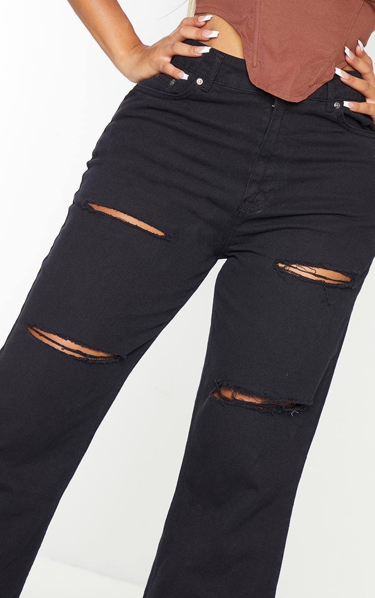 PRETTYLITTLETHING Shape - Jean large noir à détail déchiré 4