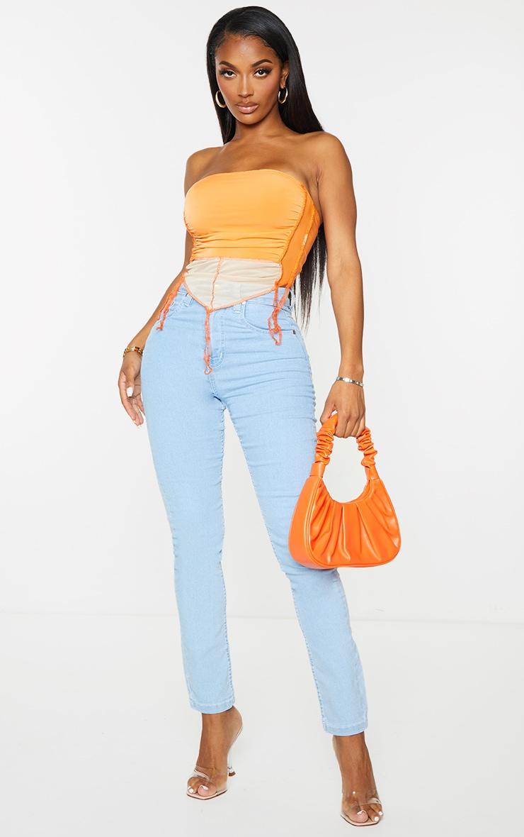 Shape Orange Ruched Overlock Seam Curved Hem Crop Top 3