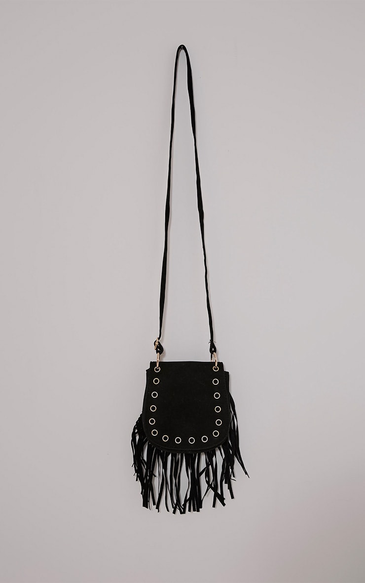 Gemah Black Fringed Shoulder Bag 1