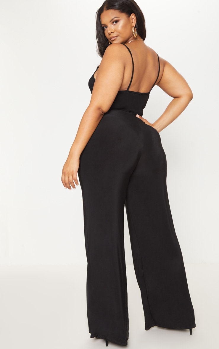 Plus Black Slinky Ruched Top Jumpsuit 2