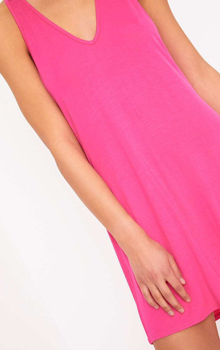 Fuchsia Jersey V Plunge Sleeveless Shift Dress  5