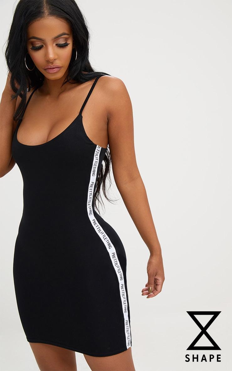 PRETTYLITTLETHING Shape Black Band Cami Dress 2
