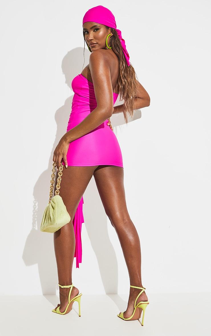 Hot Pink Tassel Tie Front Dress 6