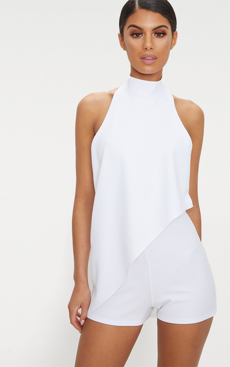 White Crepe Drape Playsuit