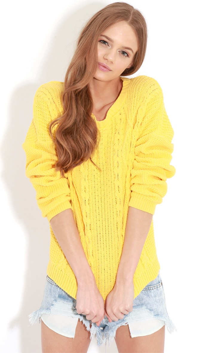 Alina Yellow Cable Knit Sweater  4