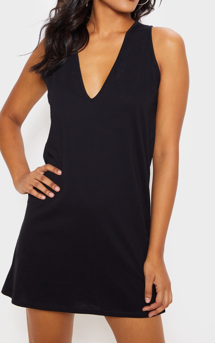 Black Deep V Sleeveless Shift Dress 5