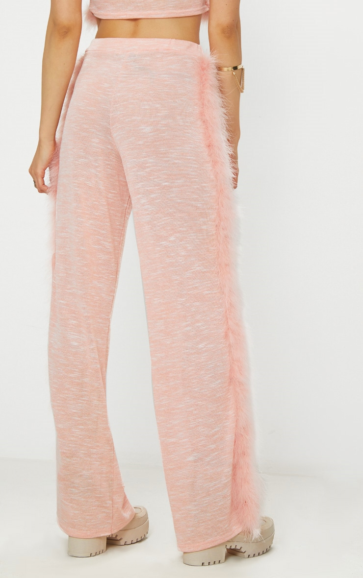 Pink Feather Trim Wide Leg Knitted Trousers 4