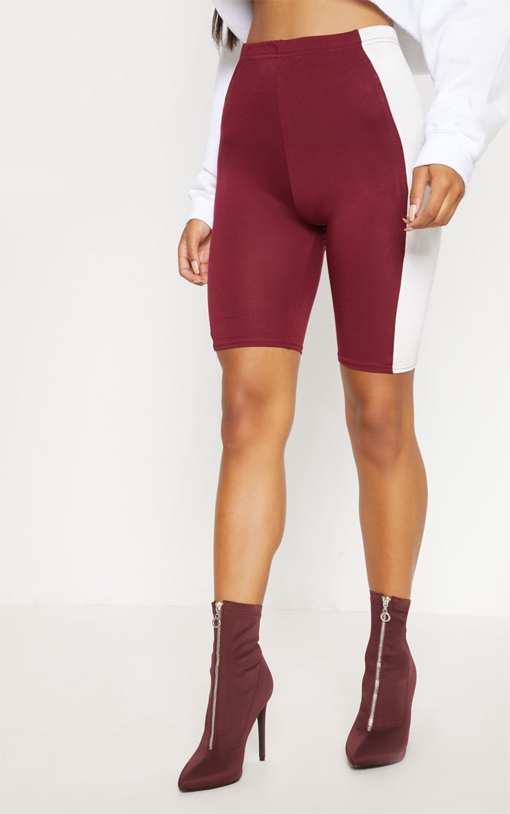 Maroon Contrast Panel Cycle Short 2