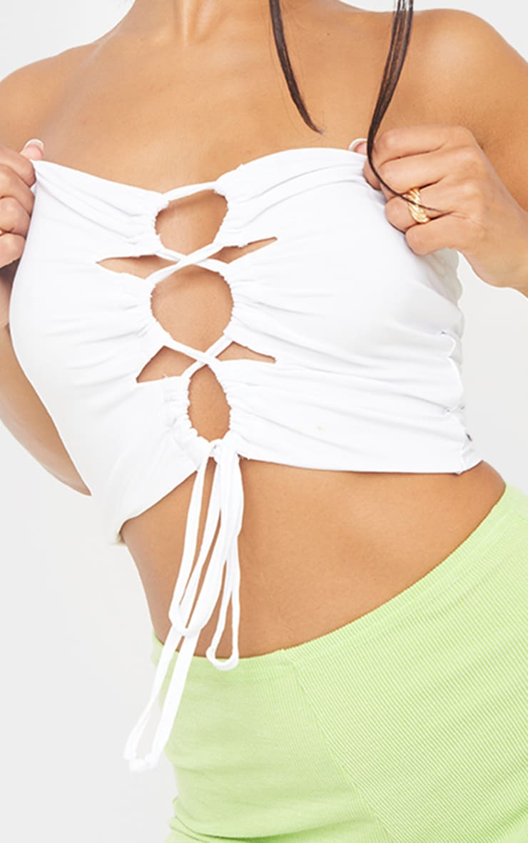 White Slinky Lace Up Ruched Bandeau Crop Top 4