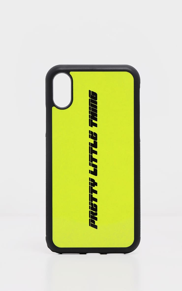 PRETTYLITTLETHING Neon Lime Logo XMAX iPhone Case  2